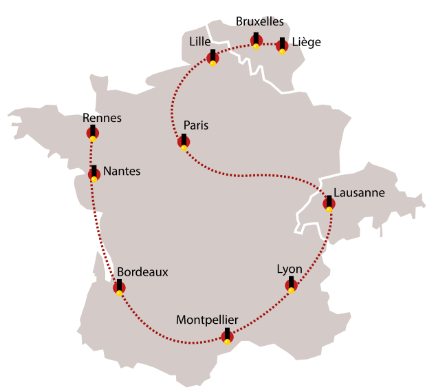 Spirou Tour Map (ill. Dupuis)
