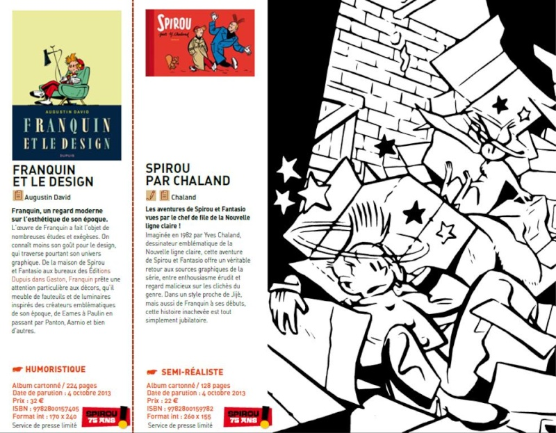 Catalog entries on 'Franquin et le design' and 'Spirou par Chaland' (ill. Dupuis, via icecool/BDGest)