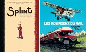 'Splint: Portræt af helten som troskyldig ung mand' and 'Les Robinsons du rail' covers (ill. Bravo; ill. Franquin, Jidéhem; (c) Cobolt; (c) Dupuis)