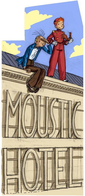 'Moustic Hotel' sketch for mural (ill. Bravo; (c) Dupuis and the artist)