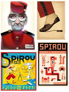 Pieces from Seed Factory Spirou exhibition (ill. various artists; via brusselslife.be)