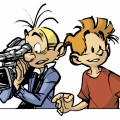 Spirou and Fantasio filming (ill. Munuera; (c) Dupuis and the artist)