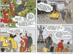 From 'Spirou & Fantasio à St. Nazaire' (ill. Stanislas; (c) Dupuis and the artist; image via elouarnblade.blogspot)