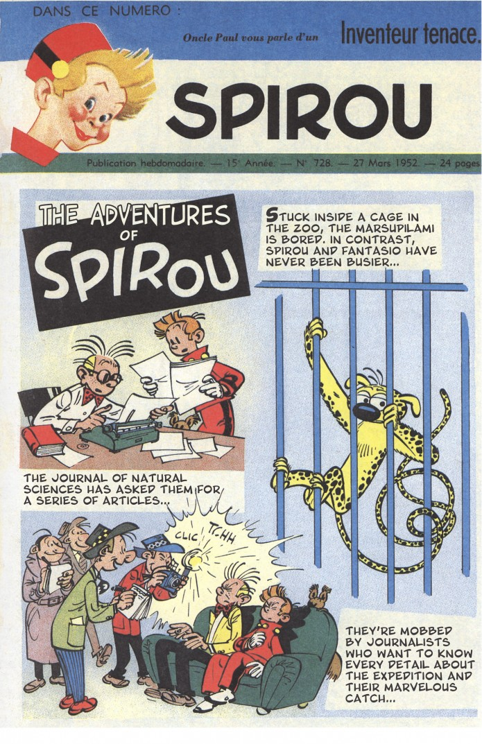 'The Marsupilami Thieves' teaser p.1, from JdS #728 (ill. Franquin; (c) Dupuis and the artist; SR scanlation)