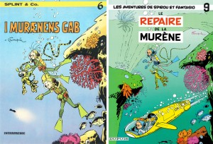 Two covers for 'Le repaire de la murène', Danish and French (ill. Franquin, Peter Madsen; (c) Dupuis, Interpresse and the artists)