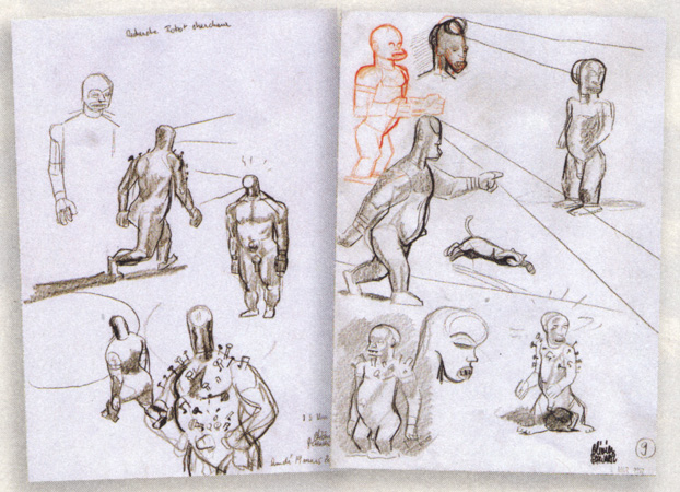 Gorilla robot studies, from JDS #3949 (ill. Schwartz; (c) Dupuis and the artist)