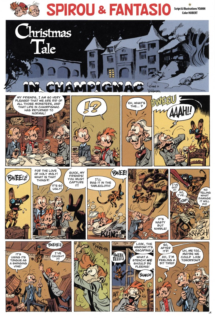 """A Christmas Tale in Champignac"" p. 1 ('Conte de Noël à Champignac'; ill. Yoann; (c) Dupuis and the artist; SR scanlation)"