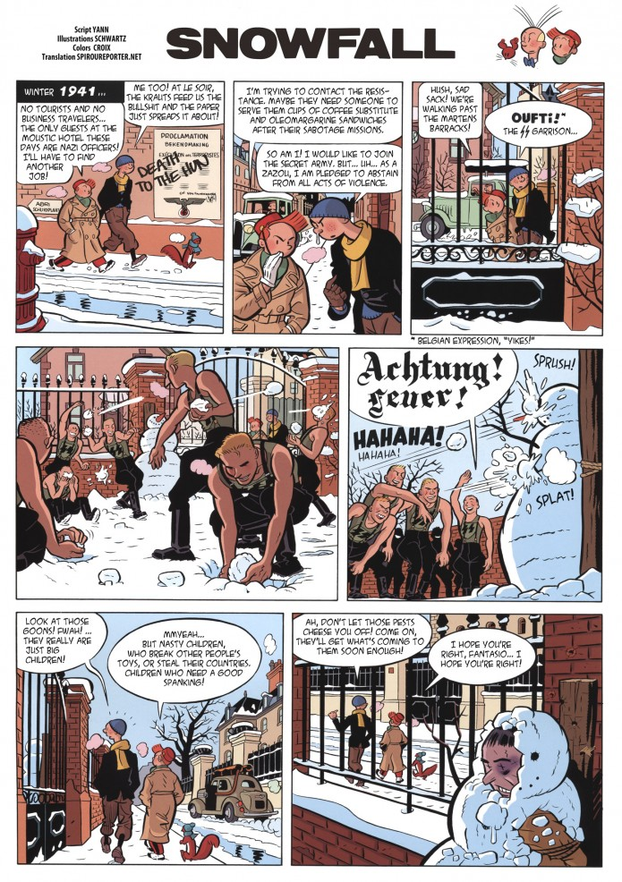 Snowfall, or 'Tombe la neige' from JdS #3914 (ill. Schwartz, Yann; (c) Dupuis and the artists; SR scanlation)