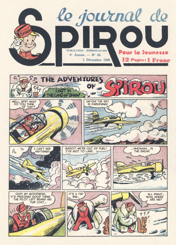 Spirou in the land of Eskimos p. 1, from JdS #49/1940 (ill. Jijé; (c) Dupuis and the artist; SR scanlation)