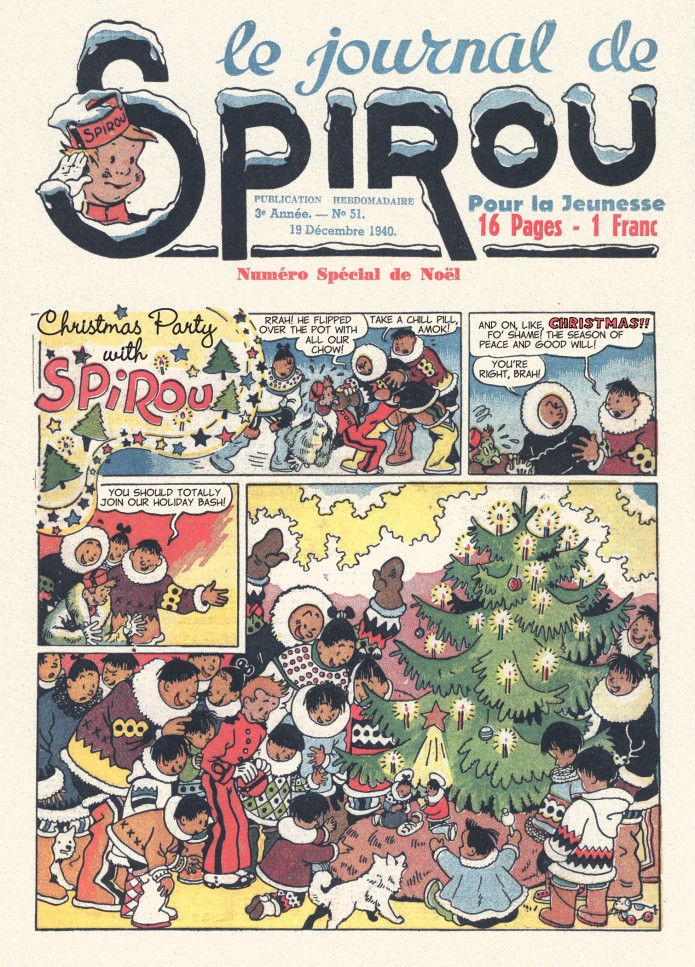 Spirou in the land of Eskimos p. 3, from JdS #51/1940 (ill. Jijé; (c) Dupuis and the artist; SR scanlation)