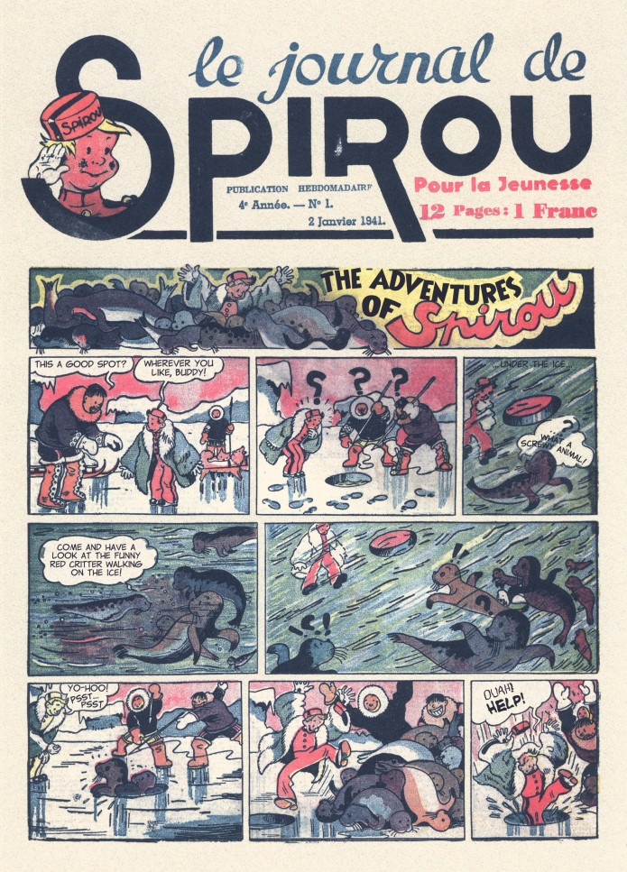 Spirou in the land of Eskimos p. 5, from JdS #51/1940 (ill. Jijé; (c) Dupuis and the artist; SR scanlation)