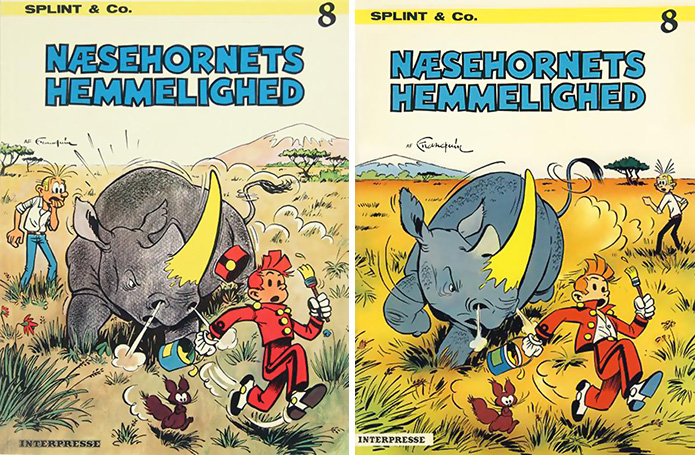 'Splint & Co. Næsehornets hemmelighed' (Spirou #6 'La corne de rhinocéros'; ill. Peter Madsen after Franquin; (c) Interpresse, Dupuis and the artist; images from faraos.dk and comics.org)