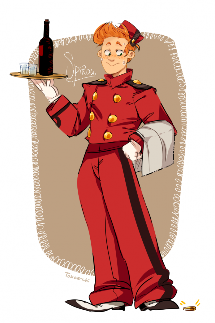 Spirou fanart ('gift thing for Fink'; ill. tomatomagica; (c) Dupuis and the artist; image from tumblr)