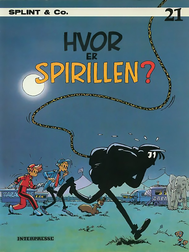Spirou #5 'Hvor er Spirillen' Danish cover (ill. Peter Madsen? after Franquin; (c) Interpresse and the artist; image from comicwiki.dk with restoration)