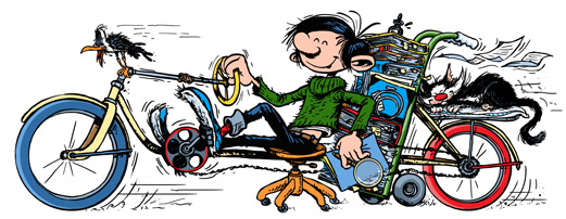 Gaston Google doodle 28. Feb 2014 (ill. Google after Franquin; (c) Google and Dupuis; image from Google.fr)