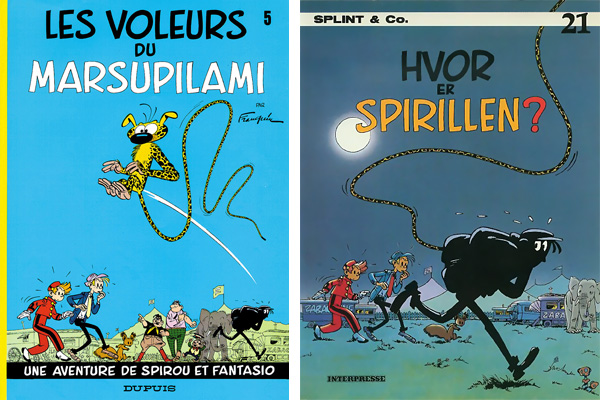 Spirou #5 French and Danish covers (ill. Franquin and Peter Madsen?; (c) Interpresse and the artists)
