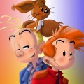 Spirou, Fantasio and Spip (ill. AnimeArt after Munuera; (c) Dupuis and the artist; from tumblr)