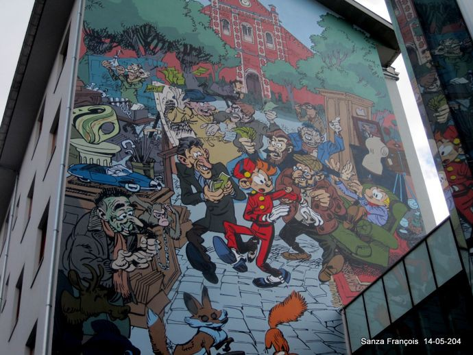 Spirou mural in Brussels (ill. Yoann; photo from http://bdmurales.skynetblogs.be)