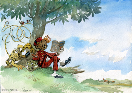Spirou and Marsupilami, homage to Franquin (ill. Yoann; (c) Dupuis and the artist; image from bdzoom)