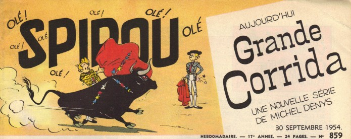 Journal de Spirou #859 header (ill. Franquin; (c) Dupuis and the artist; image adapted from inedispirou.com)