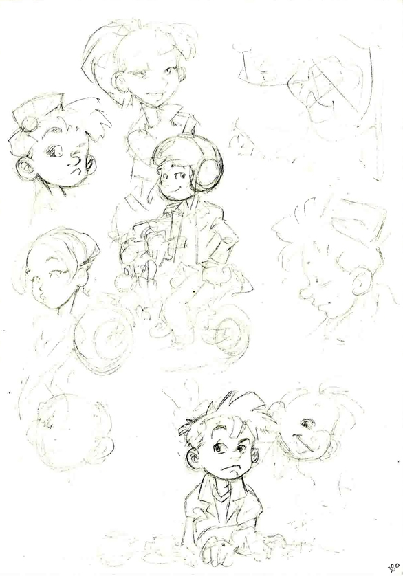 Spirou and Fantasio sketches (ill. Philippe Buchet; (c) Dupuis and the artist; image from inedispirou.com)