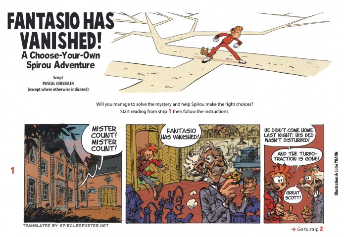 'Fantasio Has Vanished' p01a (ill. Yoann & Jousselin; (c) Dupuis and the artists; from JDS #3997; SR scanlation)