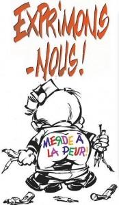'Exprimons-nous! Merde à la peur!' (ill. Tome & Janry; image from Facebook)