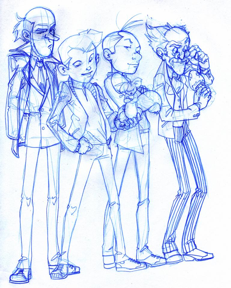 Spirou, Fantasio, Spip, Zorglub and Champignac (ill.  Alexandre Desjardins-Brunet; (c) the artist; Spirou (c) Dupuis; image from deviantart.com)