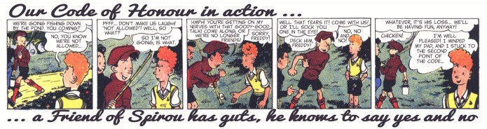 """Friends of Spirou Code of Honor"" 2 ('Les Amis de Spirou Code d'Honneur' 1; ill. Jijé & Jean Doisy; (c) Dupuis and the artists; SR scanlation)"