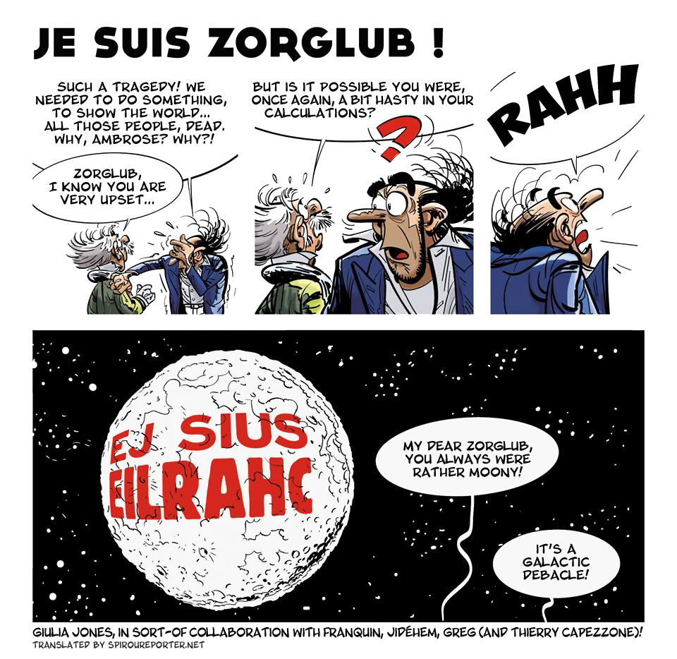 "'Je suis Zorglub!' (""I Am Zorglub!""; ill. Giulia Jones, after Franquin, Jidéhem, Greg, with Thierry Capezzone; (c) the artists; Spirou (c) Dupuis; SR scanlation)"