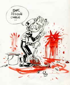 "'J'essuie Charlie' (""I'm wiping up Charlie""; ill. Yoann; (c) the artist; Spirou (c) Dupuis; image from facebook.com)"