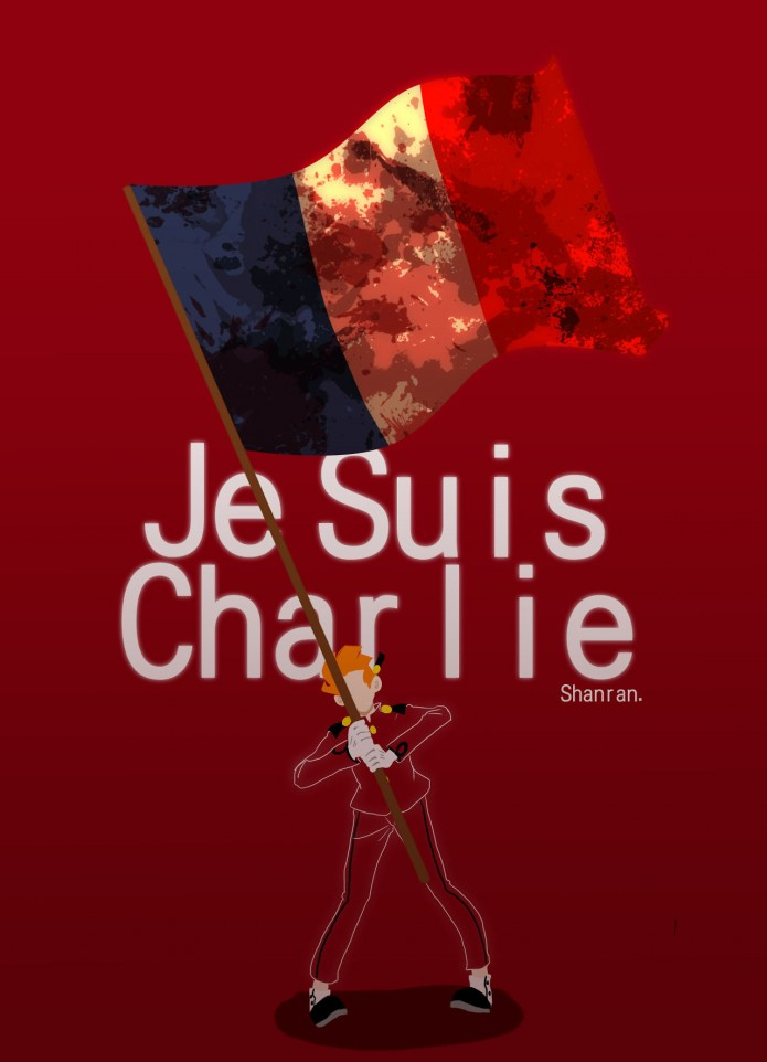 'Je suis Charlie' (ill. Shanran; (c) the artist; Spirou (c) Dupuis; image from tumblr.com)