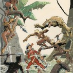 Spirou vs. the leopard women (ill. Olivier Schwartz; (c) the artist; Spirou (c) Dupuis; image from tumblr.com)