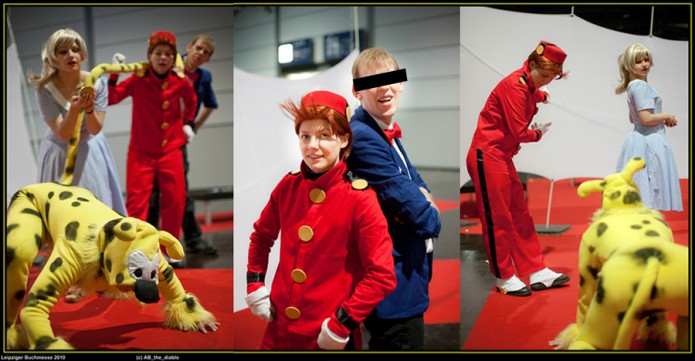 Spirou, Fantasio, Seccotine and the Marsupilami cosplay (photo by ABthediablo at the Leipziger Buchmesse; Spirou (c) Dupuis; image from deviantart.com)