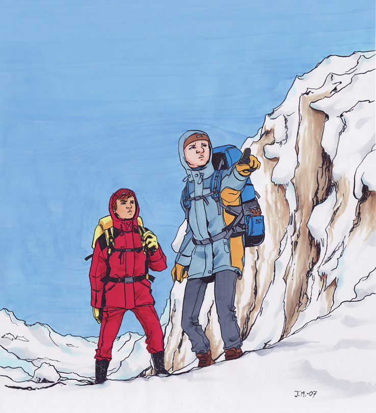 """Spirou and Fantasio in Snow"" (ill. Jemina ""Jemppu"" Malkki; (c) the artist; Spirou (c) Dupuis; image from deviantart.com)"