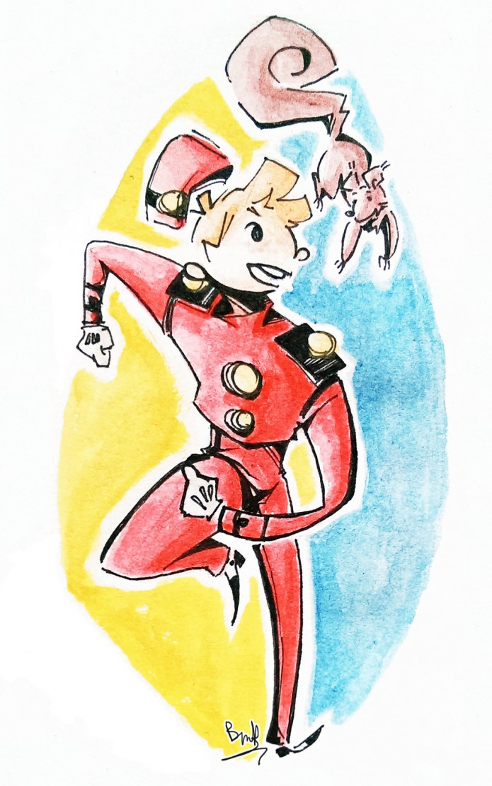Spirou and Spip (ill.  Kim Nguyên aka BakanoHealthy; (c) the artist; Spirou (c) Dupuis; image from deviantart.com)