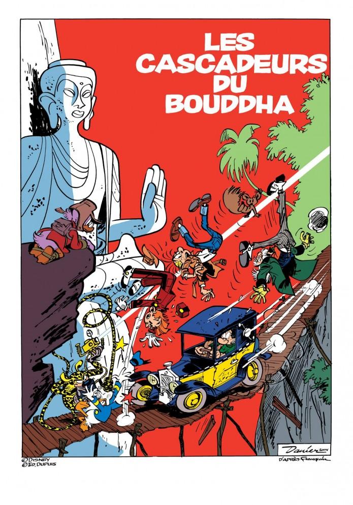 "'Les cascadeurs du Bouddha' (""Stuntmen of the Buddha""; ill. Daan Jippes aka Danier; 2014 (c) the artist; Spirou (c) Dupuis; Donald Duck (c) Disney; image from facebook.com)"