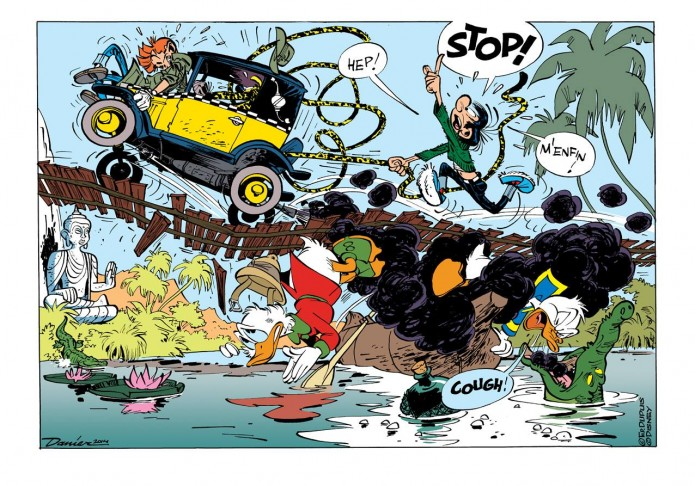 General mashup: Spirou, Marsupilami, Gaston, Donald and Scrooge (ill. Daan Jippes aka Danier; 2014 (c) the artist; Spirou (c) Dupuis; Gaston & Marsupilami (c) Franquin & Dupuis; Donald Duc & Scrooge McDuck (c) Disney; image from facebook.com)