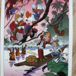 'Meeting of Two Worlds' print (ill. Daan Jippes aka Danier; 2013 (c) the artist; Spirou (c) Dupuis; Donald Duck & Scrooge McDuck (c) Disney; image from catawiki.com)