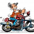 Count Champignac on a motorbike (ill. Michel Loiseau; 2015 (c) the artist; Spirou (c) Dupuis; image from blog.michel-loiseau.fr)
