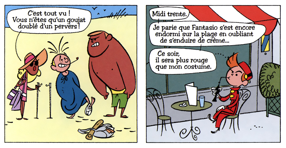 "From 'Les vacances de Monsieur Fantasio' (""Mr. Fantasio's Holiday""; ill. Fabrice Parme; (c) Dupuis and the author; from JdS #4029-4030)"