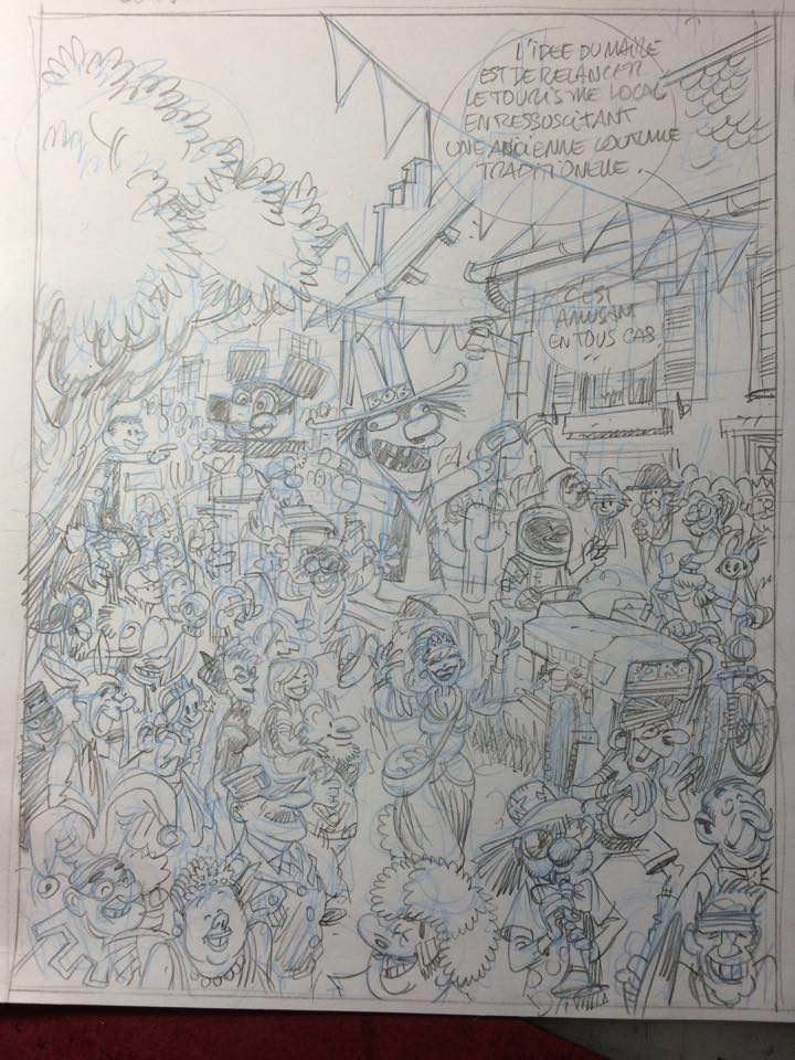 Pencils for page or panel from Spirou 55 (ill. Yoann & Vehlmann; (c) Dupuis and the artists; image from facebook.com)