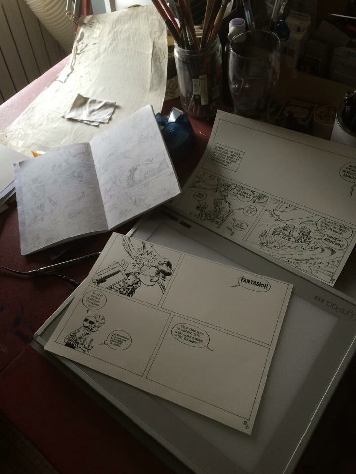 Spirou #55, photo of half-inked pages 27A and 27B (ill. Yoann & Vehlmann; (c) Dupuis and the artists; image from inedispirou.com)