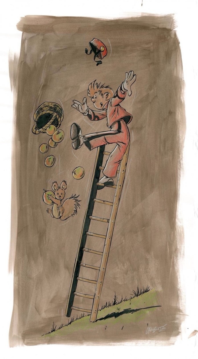 Hommage à Spirou (ill. Christophe Chabouté, after Franquin; (c) the artist; Spirou (c) Dupuis; image from 2dgalleries.com)
