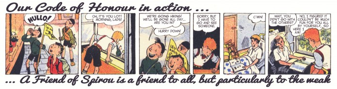 """Friends of Spirou Code of Honor"" 5 ('Les Amis de Spirou Code d'Honneur' 5; ill. Jijé & Jean Doisy; (c) Dupuis and the artists; SR scanlation)"
