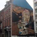 'La Femme-léopard' wall mural (ill. Schwartz & Yann; (c) the artists; Spirou (c) Dupuis; photo from dupuis.com)