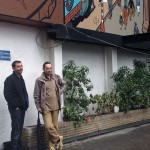 Olivier Schwartz and Yann by 'La Femme-léopard' wall mural (ill. Schwartz & Yann; (c) the artists; Spirou (c) Dupuis; photo from dupuis.com)