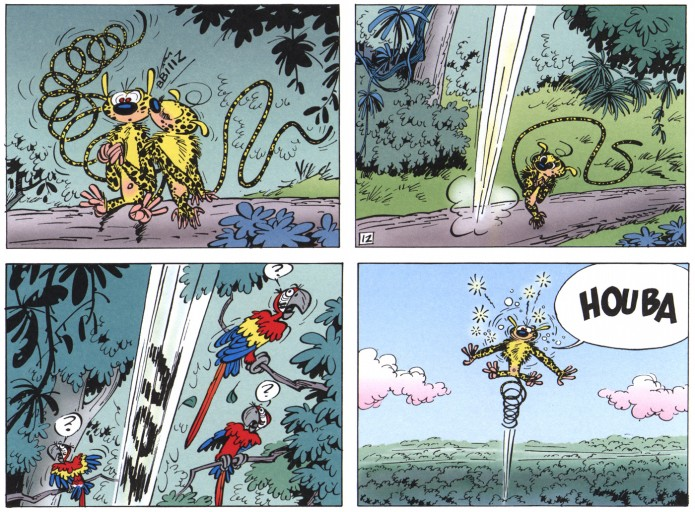 "Half-page from 'Le Nid des marsupilamis' (Spirou & Fantasio #12, ""The Nest of the Marsupilamis""; ill. Franquin; (c) Dupuis and the artist)"