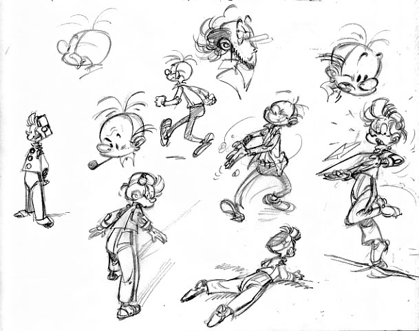 """Spirou character sketches (ill. Pierre """"Pica"""" Tranchand; (c) the artist; Spirou (c) Dupuis; image from francois-corteggiani.over-blog.com)"""