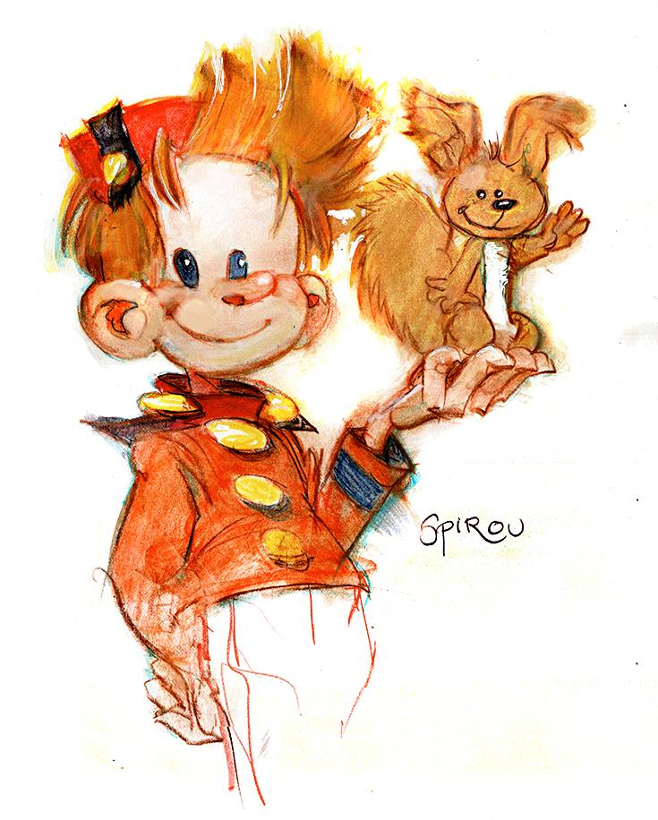 Spirou and Spip (ill. Bill Sienkiewicz; (c) the artist; Spirou (c) Dupuis; image from bear1na.tumblr.com)